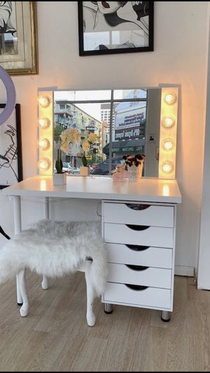 New Custom Hollywood Style Vanity Mirror Chrome & White Delivery Available! for Sale in Irvine, CA