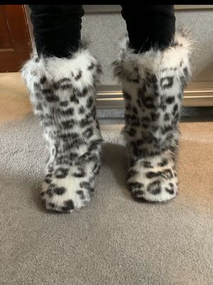 Cheetah print faux fur boots for Sale in Wallkill, NY