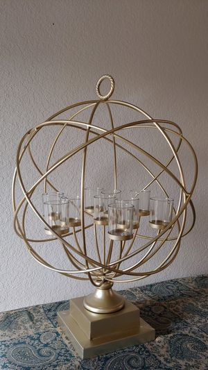 Golden Globe candelabra with 10 glass votive candle holders for Sale in Riverside, CA