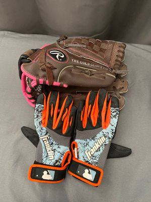 Baseball Glove and Batting Gloves for Sale in Bakersfield, CA