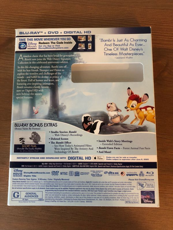 Bambi blu ray slip cover only