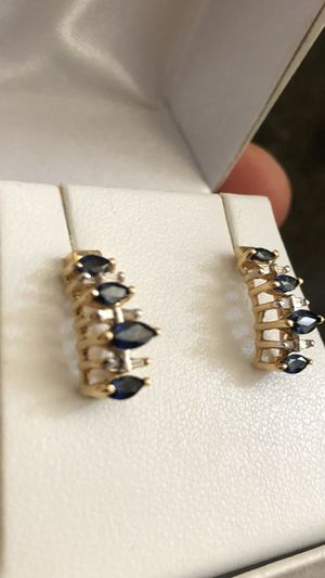14k gold diamond and sapphire earrings for Sale in York, PA