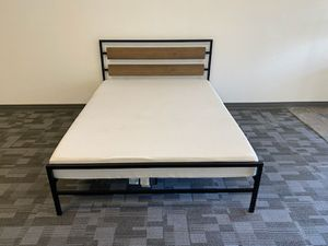 Metal Queen size platform bed frame with 7 inch BedTech Chiropedic Gel Memory Foam Mattress included for Sale in Glendale, AZ