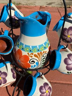 Beautiful decorated jug, with base and 6 glasses, ideal for hot or cold drinks for Sale in Los Angeles,  CA