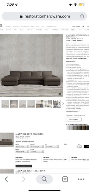 Restoration hardware couch originally bought for more than $8000 Must sale for Sale in Miami, FL