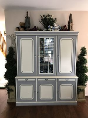 Beautiful gray and white Antique Cabinet/Hutch for Sale in Colorado Springs, CO
