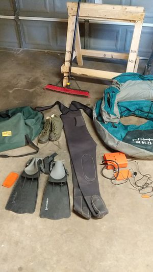 Belly Boat, Waders, Flippers, Pump for Sale in Denver, CO