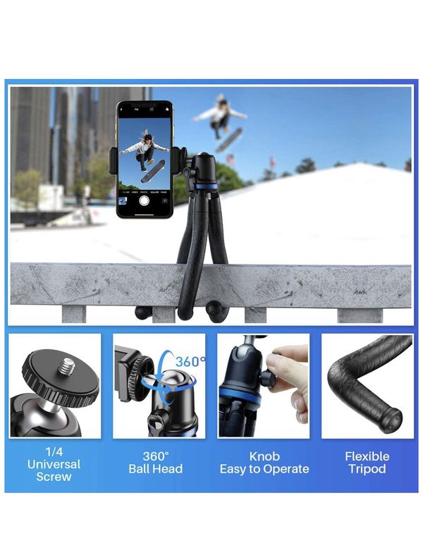 Apexel Phone Tripod, Flexible Tripod with Wireless Remote Shutter, Compatible with iPhone/Android Samsung, Mini Tripod Stand Holder for Camera GoPro/