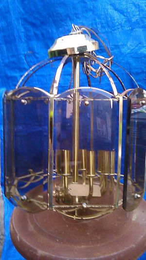 Tinted beveled glass chandelier for Sale in Oxford, MA