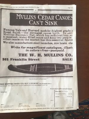Mullins cedar canoe. for Sale in Portland, ME