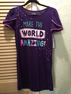 """Cat & Jack"" purple short sleeved nightgown ""Make the World Amazing"" girls XL 14/16 for Sale in La Mirada, CA"