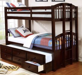BUNK BED ( TWIN OVER TWIN W/ TRUNDLE for Sale in Houston,  TX