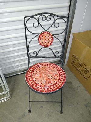 Antique iron tile patio chair for Sale in Anaheim, CA