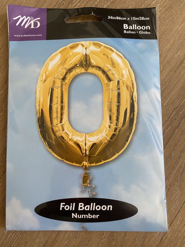 Four gold foil balloons, each size is 34 inches tall and 15 inches wide