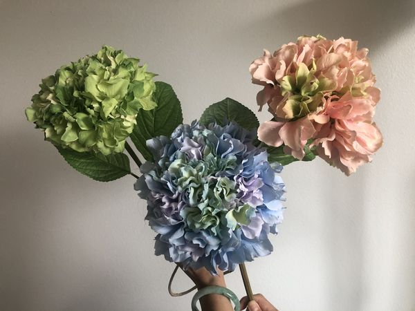 Three faux flowers hydrangea colorful tall