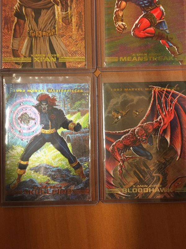 98451f3b029 1993 Marvel Masterpieces 2099 Dyna-Etch Foil Spectra Chase 4 Card ...