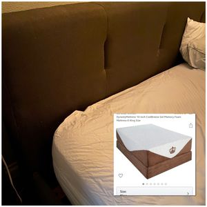 King Size Memory Foam Mattress AND Gray Upholstered Bed Frame for Sale in Las Vegas, NV