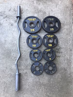 Olympic Weights with Curling Bar for Sale in Fountain Valley, CA