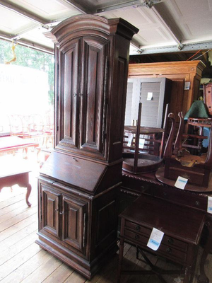 Beautiful Antique Drop Front Secretary Desk with Upper Cabinet - Delivery Available for Sale in Midland, TX
