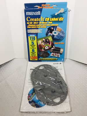 Maxell Create It CD DVD Label Kit, 110 Labels, Applicator, Software with Images for Sale in Pawtucket, RI