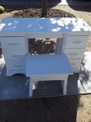 Vintage solid wood desk and stool. Add a mirror and you have a cool vanity for Sale in Spring Valley, CA