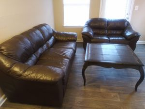 Leather Couch, Loveseat, and Coffee Table for Sale in Lawrenceville, GA
