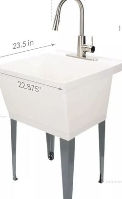 JS Jackson Supplies White Utility Sink Laundry Tub with High Arc Stainless St... for Sale in Fort Worth,  TX