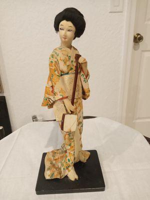 Antique Japanese Geisha Doll holding a Japanese Banjo with genuine silk GEISHA GEIKO 1950 Kimono for Sale in Boynton Beach, FL