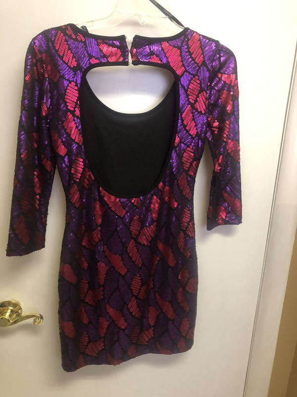 Marciano purple and pink sequenced dress