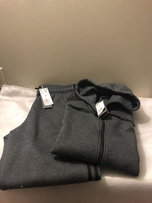 NEW ADIDAS GRAY FLEECE OUTFIT PANTS AND ZIPPER JACKET SIZE-MEDIUM MENS NEW for Sale in Jessup, MD
