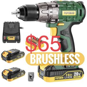 """Cordless drill, Brushless 20V 1/2"""" Drill Driver, 2x2000mAh Batteries, 530 In-lbs Torque, 21+1 Torque Setting, Fast Charger 2.0A, 2-Variable Speed, 33p for Sale in Brooklyn, NY"""