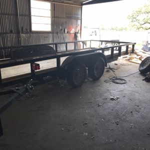 "Used 80"" x 18' Pipe Top Utility Trailer With Pullout Ramps . Title. 3500 LB Axles. READ AdB$1850 CASH Firm . Pickup Only . Low Ballers Ignored for Sale in Fort Worth, TX"