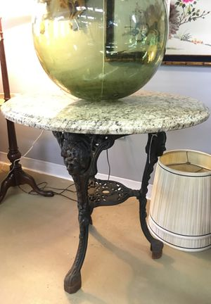 Antique French cast iron garden table granite top for Sale in Atlanta, GA