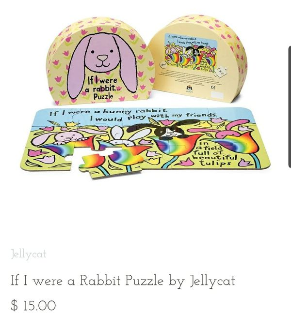 New Jellycat If I Were a Rabbit 15 piece toddler puzzle
