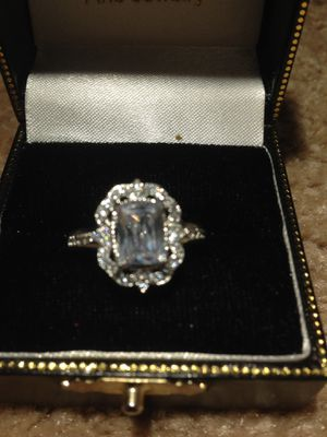 Sterling Silver square Zirconia center stone Multi Pav'e engagement Ring size 7.5 to 8 for Sale in Nashua, NH