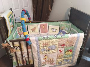 Baby crib with mattress and full bedding set for Sale in South Salt Lake, UT