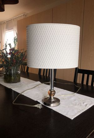 White table lamp with Lucite detail and steel hardware for Sale in West Hollywood, CA
