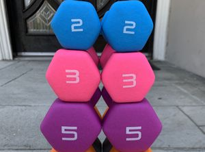 Brand new 2lb 3lb 5lb dumbbell set 3 pairs total gym weights workout exercise equipment for Sale in South El Monte, CA