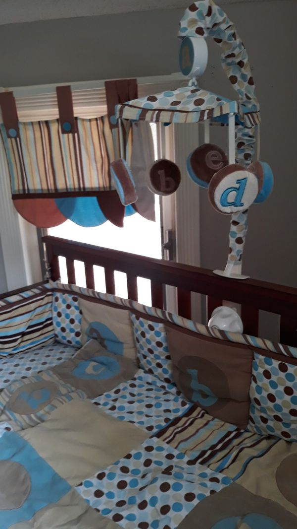 Crib set with curtain , mobile , hamper ,diaper hanger
