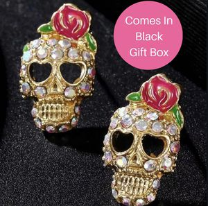 Pave Crystal Skull w/Pink Rose Earrings for Sale in Austin, TX