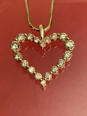 14k Gold Necklace w/ 1.00ctw 18 Brown Diamond 10k Rose Gold Pendant for Sale in Sterling, VA