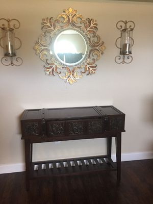 Console table ,Wall decor mirror ,2 Wall sconces for Sale in Poinciana, FL