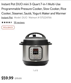 Instant Pot DUO mini 3-Quart 7-in-1 Multi-Use Programmable Pressure Cooker, Slow Cooker, Rice Cooker, Steamer, Sauté, Yogurt Maker and Warmer for Sale in Concord, NC