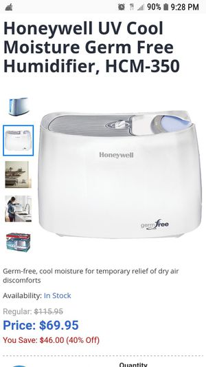 Honeywell UV Cool Moisture Germ Free Humidifier, HCM-350 for Sale in Brooklyn, NY