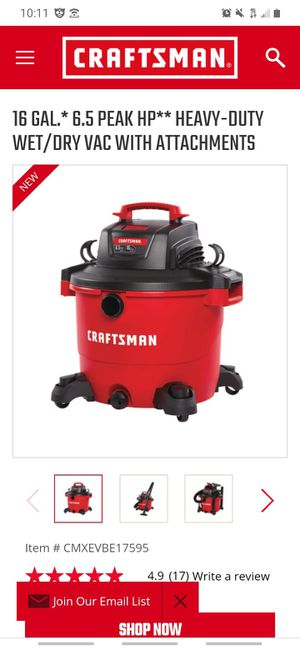 Craftman 16gallon wet/dry vac 6.5 peak hp for Sale in Buttonwillow, CA