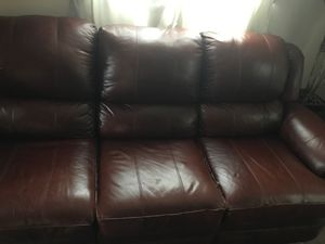 Burgundy leather sofa for Sale in Silver Spring, MD