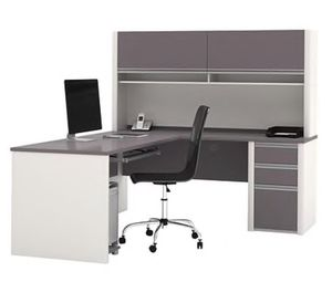 Gray and white L shaped office desk with hutch for Sale in Queens, NY