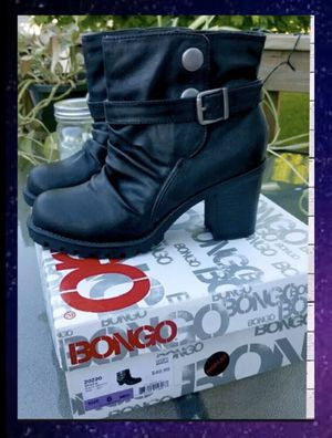 Womens Bongo NIB Black chunky heel stacked ankle boots booties shoes 6 for Sale in Green Bay, WI