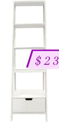 The Urban Port 69 in. White Wood 4-shelf Ladder Bookcase with Open Back for Sale in Los Angeles,  CA