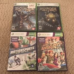 Xbox 360 video games lot bioshock kinect adventures motion sports for Sale in Burtonsville, MD